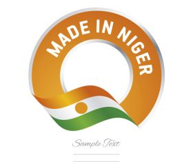 Made in Niger flag orange color label button banner vector