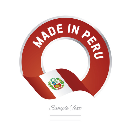 Made in Peru flag red color label button banner vector