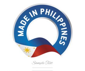 Made in Philippines flag blue color label button banner vector