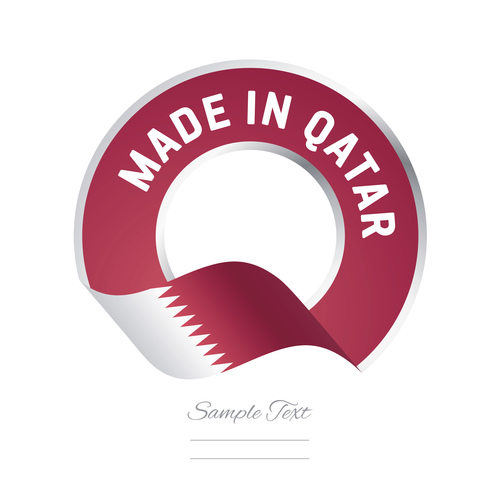 Made in Qatar flag red color label button banner vector