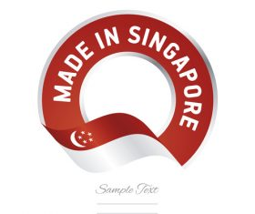 Made in Singapore flag red color label button banner vector
