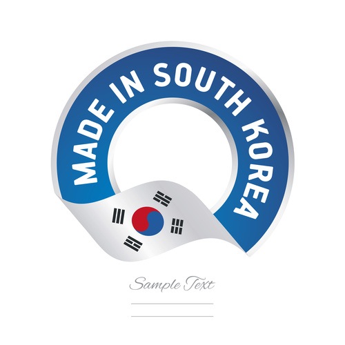 Made in South Korea flag blue color label button banner vector