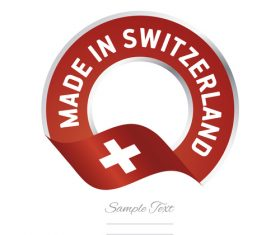 Made in Switzerland flag red color label button banner vector