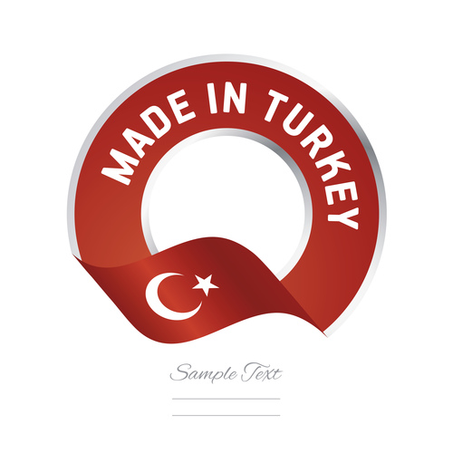Made in Turkey flag red color label button banner vector