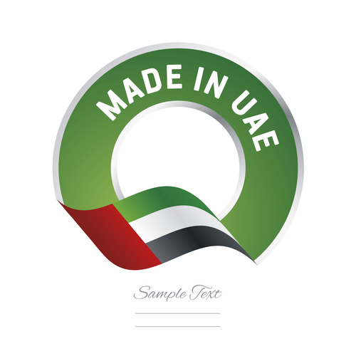 Made in UAE flag green color label button banner vector