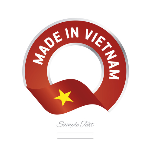Made in Vietnam flag red color label button banner vector