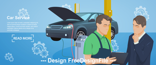 Maintenance car repair and working vector