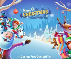 Merry christmas and santa claus and kids elements vector