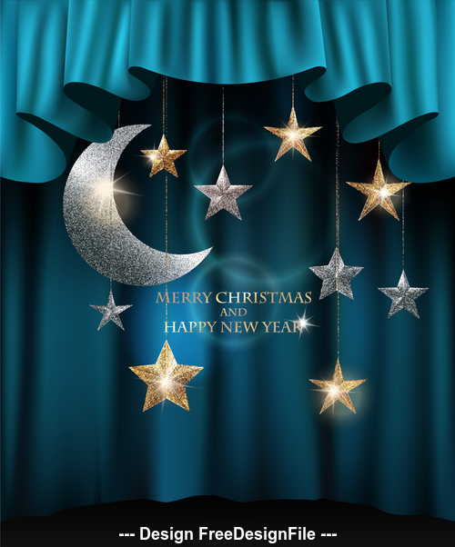 Merry christmas background with textured sparkling gold and silver stars and blue theater curtains vector