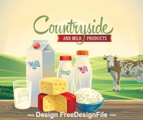 Milk landscape green vector