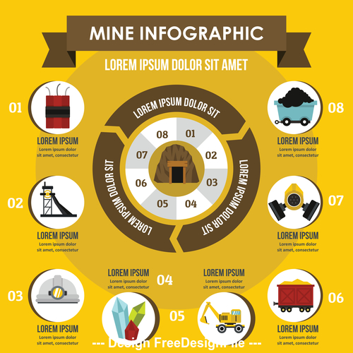 Mine infographic vector flat style