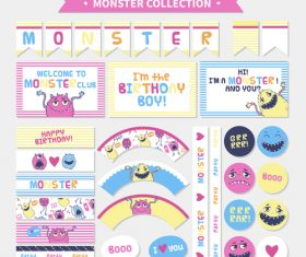 Monster collection banner vector
