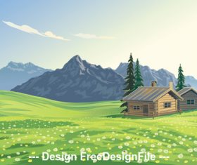Mountain landscape and village vector