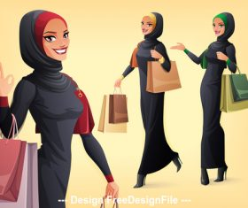 Muslim woman shopping illustration vector