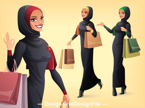 Muslim woman shopping illustration vector