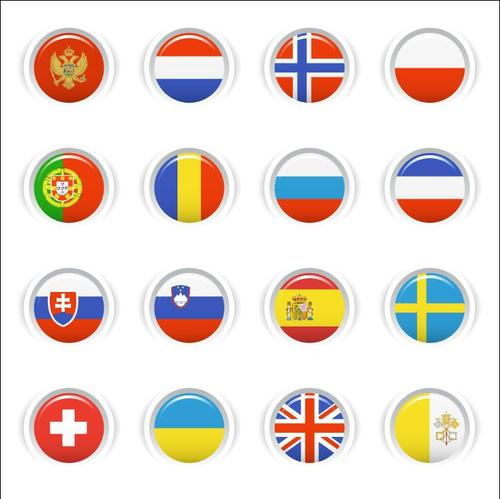 National flag glossy buttons Icon vector 01