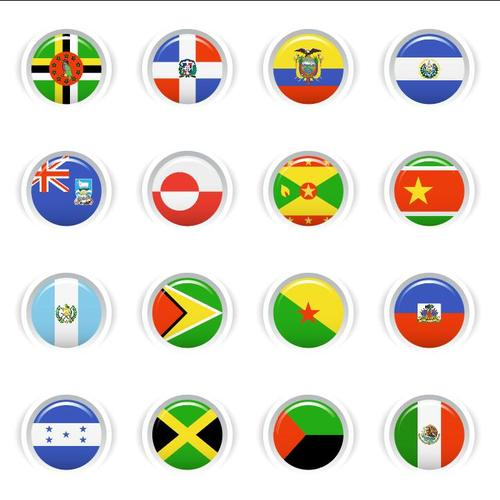 National flag glossy buttons Icon vector 02