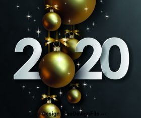 New year golden ball decoration background vector