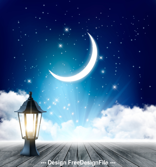 Night background with crescent moon and wooden floor and lamp vector