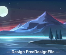 Night mountain landscape on lake vector illustration