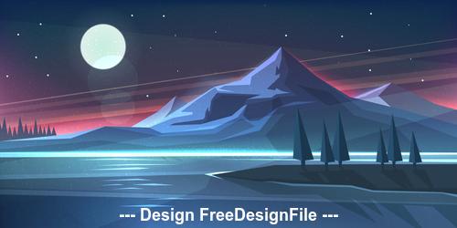 Night mountain landscape on lake vector illustration