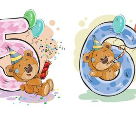 Number 5-6 and teddy bear cartoon vector
