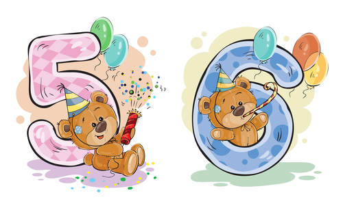 Number 5 6 and teddy bear cartoon vector