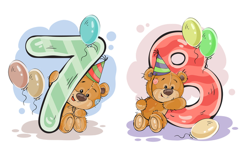 Number 7 and 8 and teddy bear cartoon vector