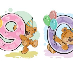Number 9 and 10 and teddy bear cartoon vector