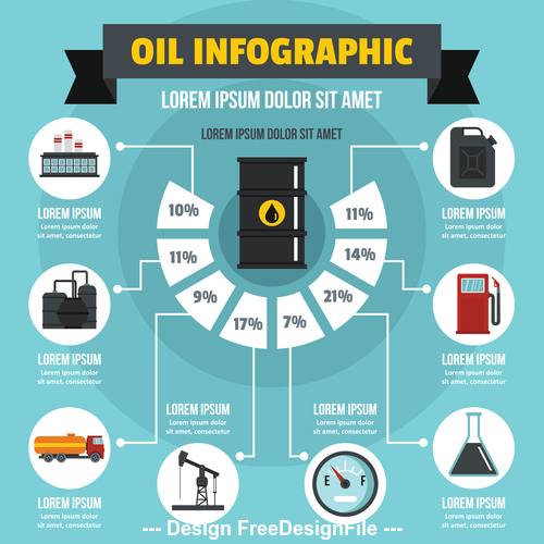 Oil infographic vector flat style