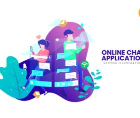 Online chat application vector illustration