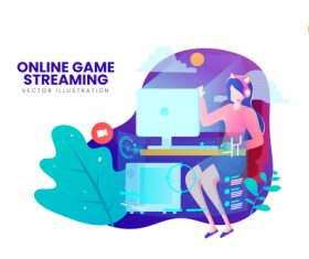 Online game streaming vector illustration