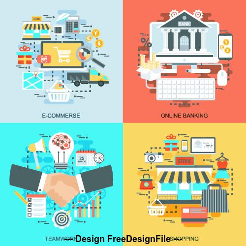 Online sale concept flat banner vector