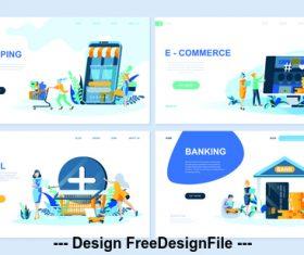 Online shopping flat banner concept illustration