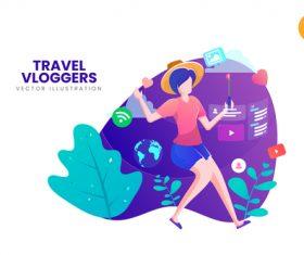 Online travel vlogger vector illustration