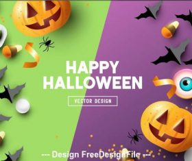 Origami illustration happy halloween vector