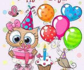 Owl animal birthday card vector