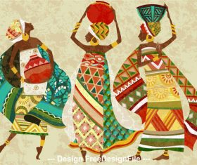 Painted african woman vector