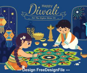 Painting decoration cartoon diwali vector