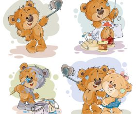 Painting patchwork teddy bear cartoon vector