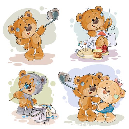 Painting patchwork teddy bear cartoon vector