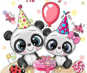 Panda birthday card vector