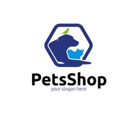 Pets shop logo vector