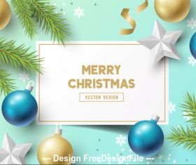 Pine branch snowflake background decoration card merry christmas vector
