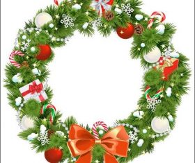 Pine branch wreath christmas card vector