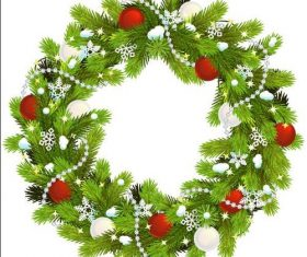 Pine branch wreath decoration christmas vector