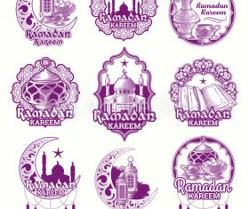Pink Ramadan Karim badge vector