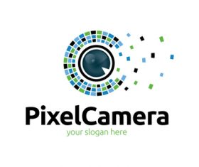 Pixel camera logo vector