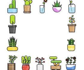 Plant flowerpot icon vector