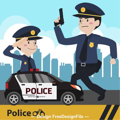 Policeand police car vector